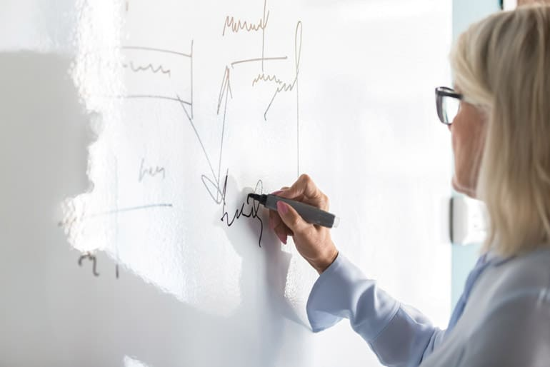Woman using whiteboard to create a network diagram