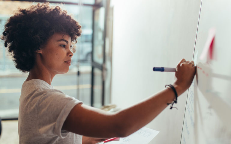 Woman at white board working on project management plan